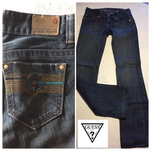 GUESS SIZE 24 boot cut MODELE BLUE GOLD Pockets